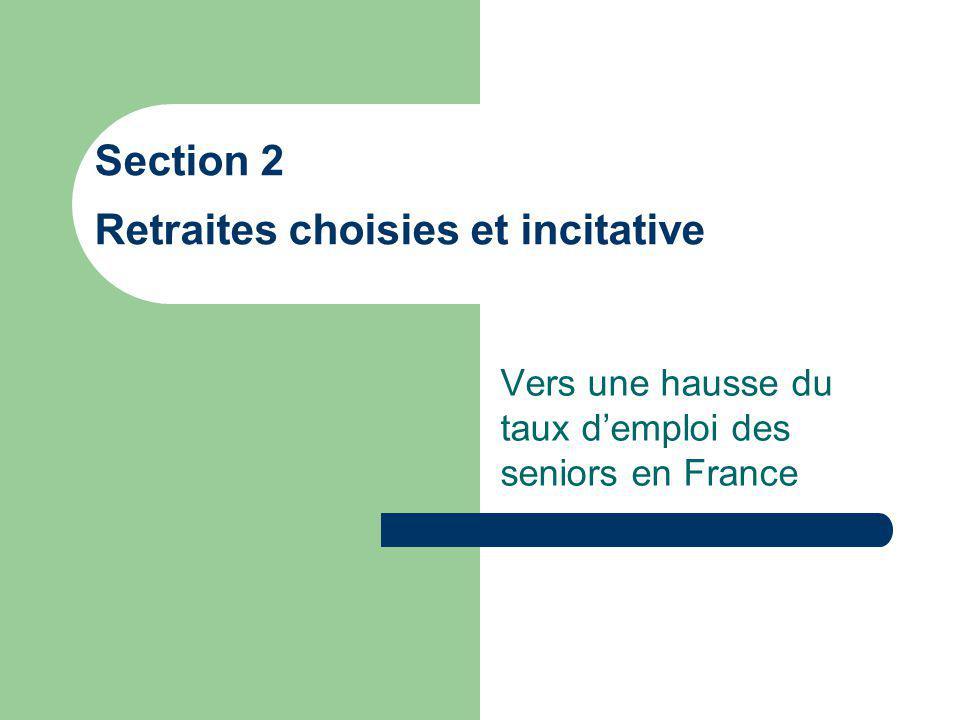 Vers une hausse du taux demploi des seniors en France Section 2 Retraites choisies et incitative