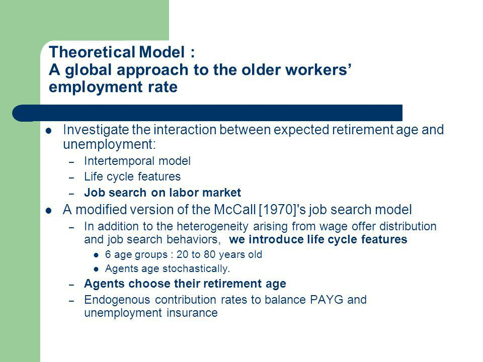 Theoretical Model : A global approach to the older workers employment rate Investigate the interaction between expected retirement age and unemployment: – Intertemporal model – Life cycle features – Job search on labor market A modified version of the McCall [1970] s job search model – In addition to the heterogeneity arising from wage offer distribution and job search behaviors, we introduce life cycle features 6 age groups : 20 to 80 years old Agents age stochastically.