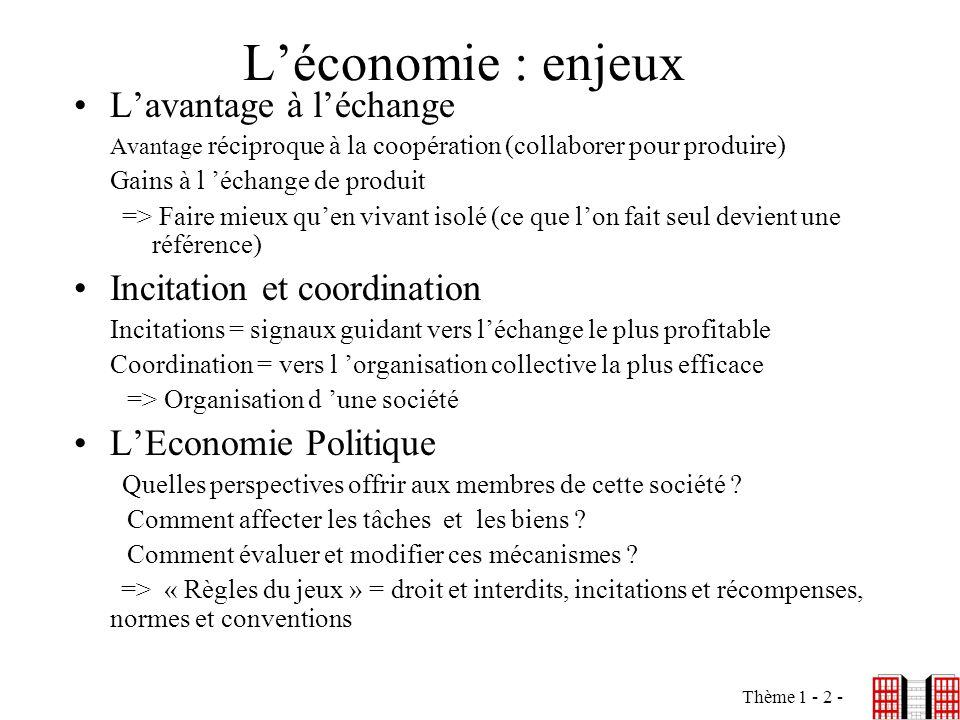 Thème 1 - 2 - Léconomie : enjeux Lavantage à léchange Avantage réciproque à la coopération (collaborer pour produire) Gains à l échange de produit =>