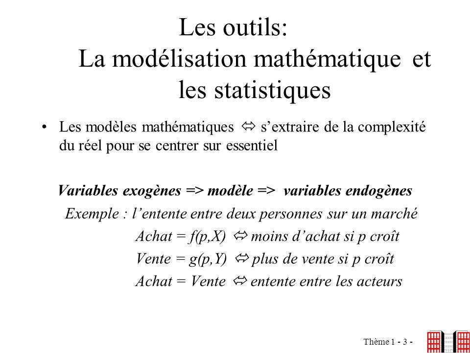 Thème 1 - 3 - Les outils: La modélisation mathématique et les statistiques Les modèles mathématiques sextraire de la complexité du réel pour se centre