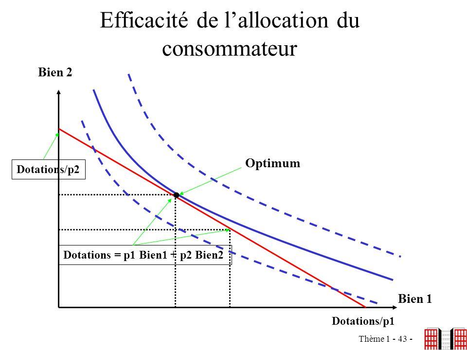 Thème 1 - 43 - Efficacité de lallocation du consommateur Bien 2 Bien 1 Dotations/p2 Dotations/p1 Dotations = p1 Bien1 + p2 Bien2. Optimum