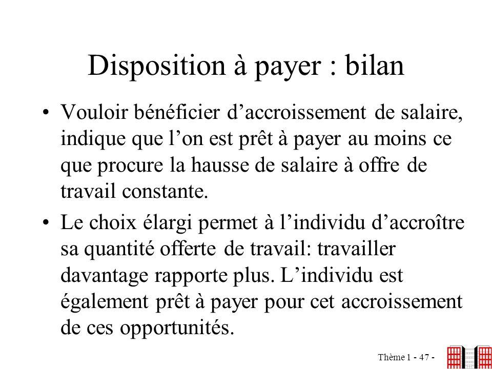 Thème 1 - 47 - Disposition à payer : bilan Vouloir bénéficier daccroissement de salaire, indique que lon est prêt à payer au moins ce que procure la h