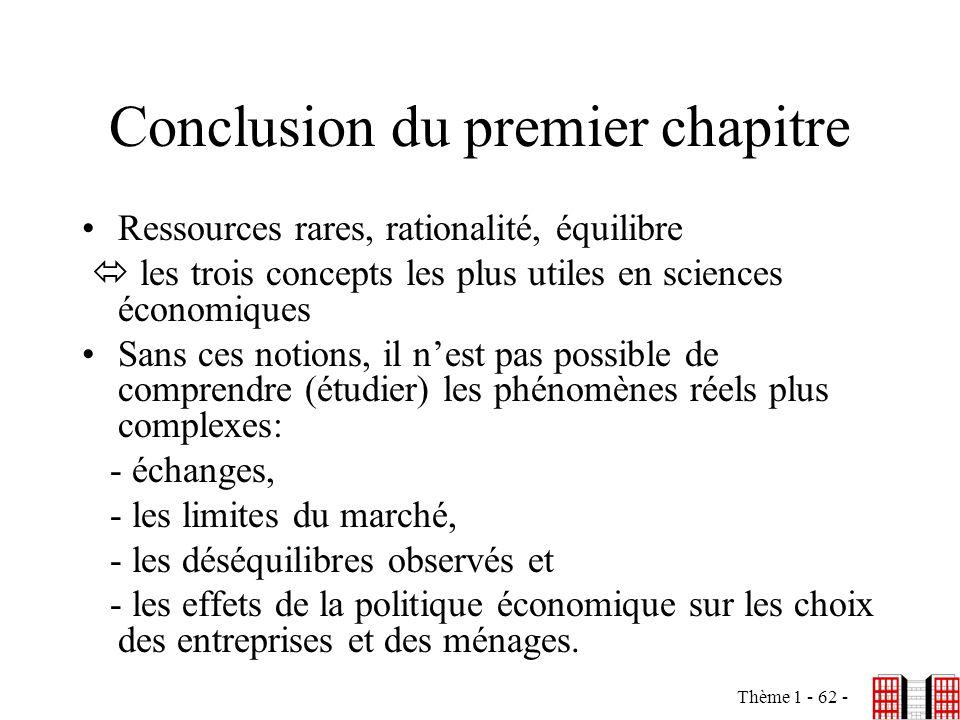 Thème 1 - 62 - Conclusion du premier chapitre Ressources rares, rationalité, équilibre les trois concepts les plus utiles en sciences économiques Sans