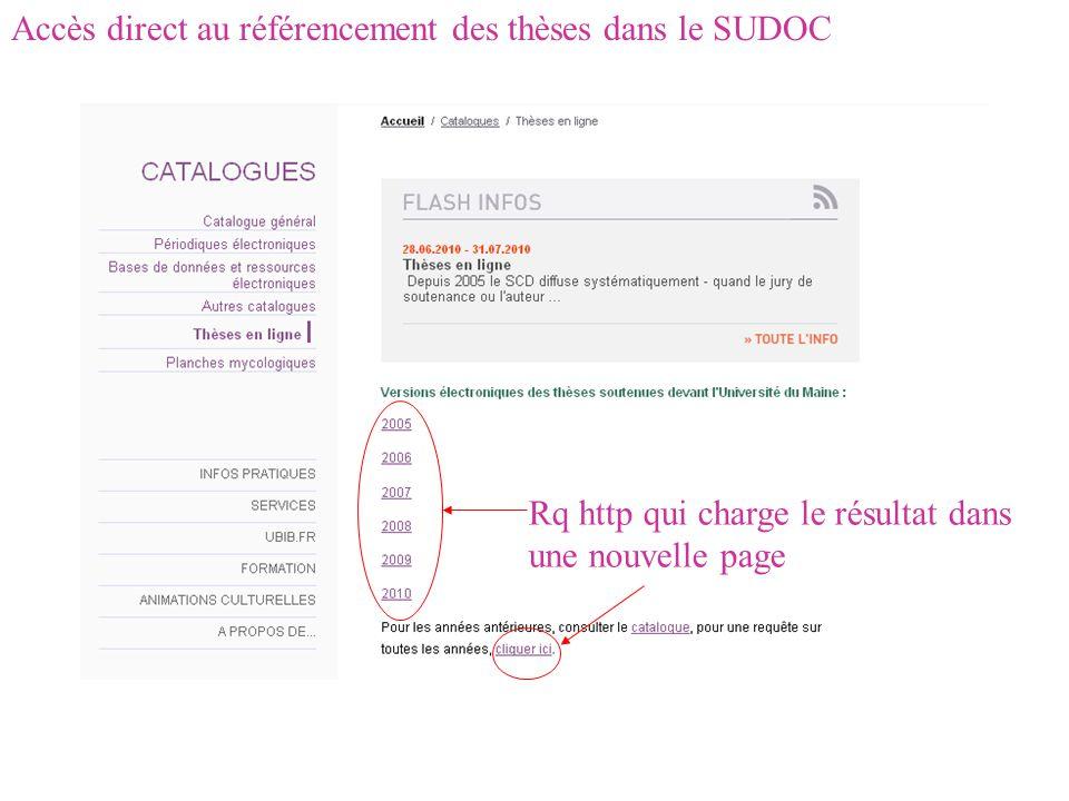 Accès direct au référencement des thèses dans le SUDOC Rq http qui charge le résultat dans une nouvelle page