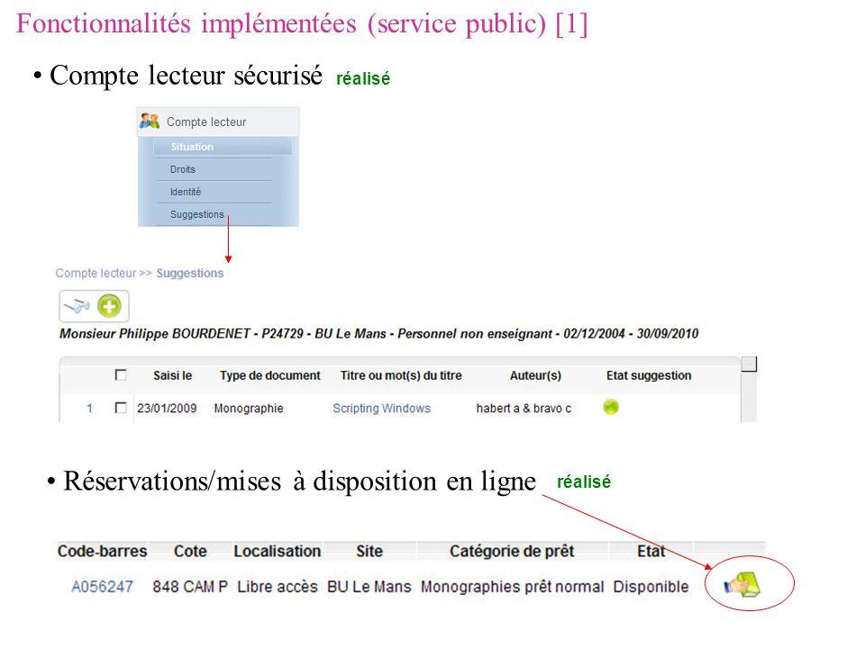 Fonctionnalités implémentées (service public) [1] Compte lecteur sécurisé réalisé Réservations/mises à disposition en ligne réalisé
