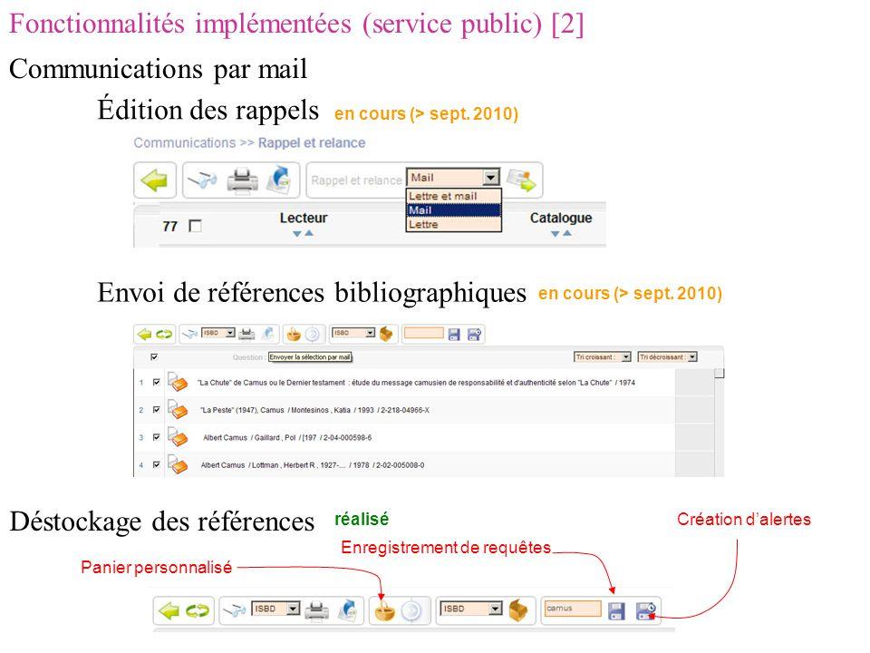 Fonctionnalités implémentées (service public) [2] Communications par mail Édition des rappels Envoi de références bibliographiques Déstockage des références en cours (> sept.