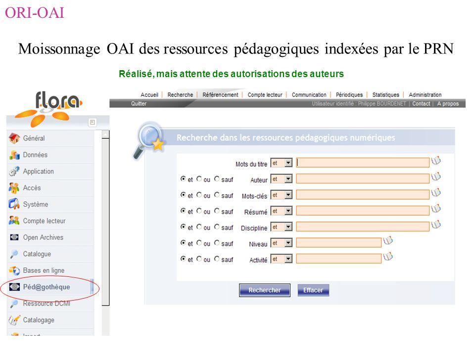 ORI-OAI Moissonnage OAI des ressources pédagogiques indexées par le PRN Réalisé, mais attente des autorisations des auteurs