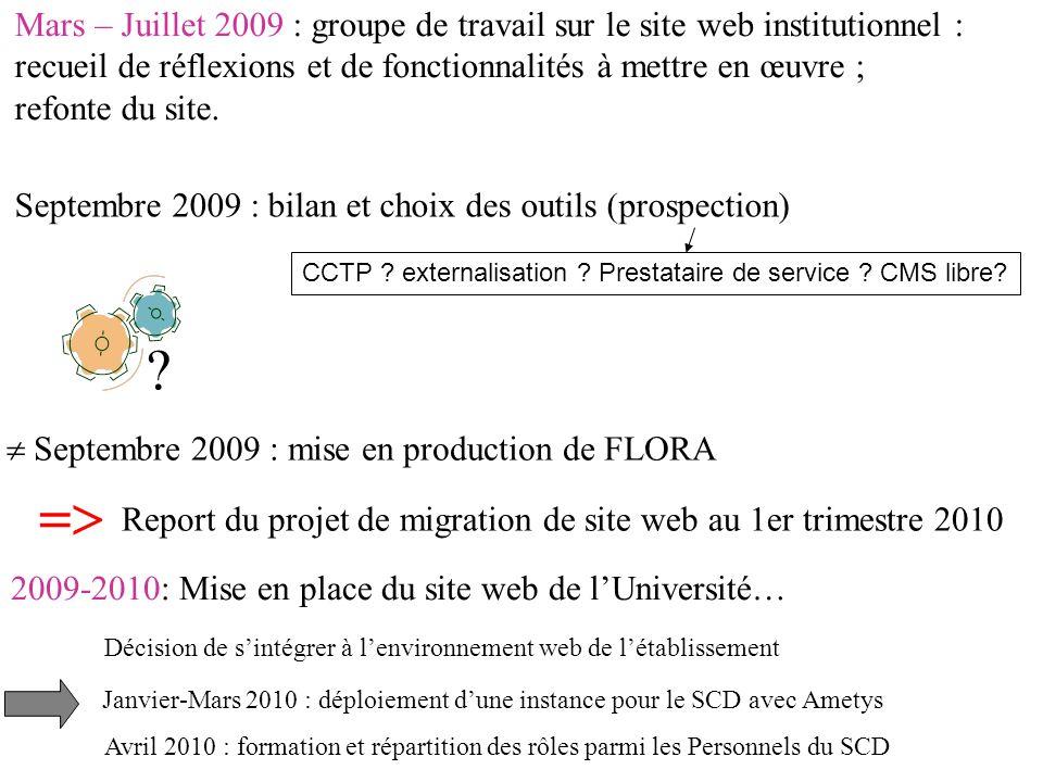 Mars – Juillet 2009 : groupe de travail sur le site web institutionnel : recueil de réflexions et de fonctionnalités à mettre en œuvre ; refonte du site.