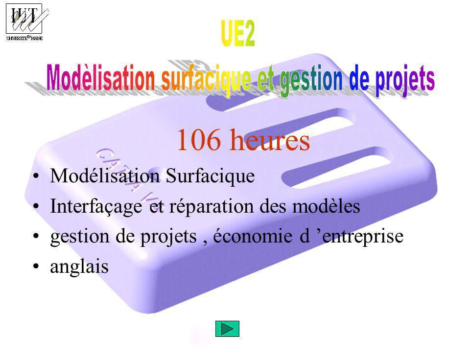 106 heures Modélisation Surfacique Interfaçage et réparation des modèles gestion de projets, économie d entreprise anglais