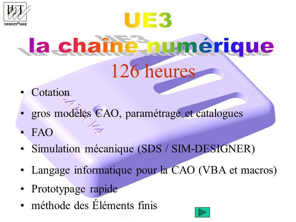 126 heures Cotation gros modèles CAO, paramétrage et catalogues FAO Simulation mécanique (SDS / SIM-DESIGNER) Langage informatique pour la CAO (VBA et macros) Prototypage rapide méthode des Éléments finis