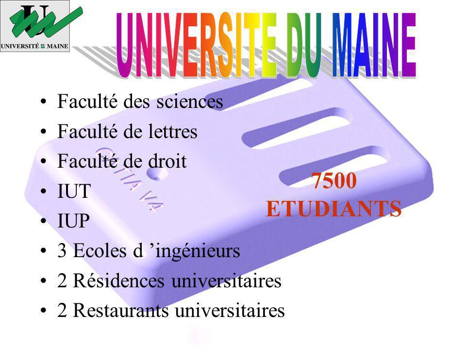 Faculté des sciences Faculté de lettres Faculté de droit IUT IUP 3 Ecoles d ingénieurs 2 Résidences universitaires 2 Restaurants universitaires 7500 ETUDIANTS