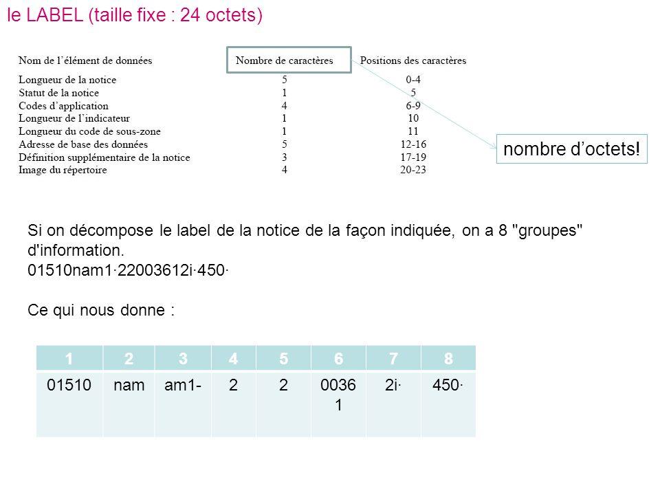 le LABEL (taille fixe : 24 octets) Si on décompose le label de la notice de la façon indiquée, on a 8