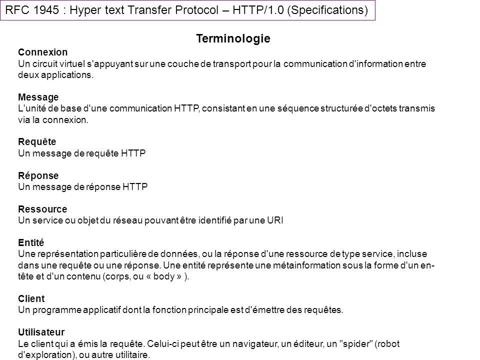 RFC 1945 : Hyper text Transfer Protocol – HTTP/1.0 (Specifications) Terminologie Connexion Un circuit virtuel s'appuyant sur une couche de transport p