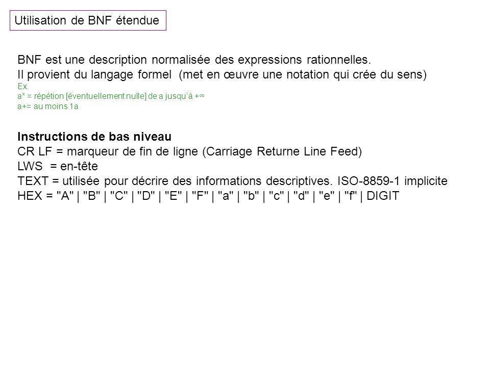 Utilisation de BNF étendue BNF est une description normalisée des expressions rationnelles. Il provient du langage formel (met en œuvre une notation q
