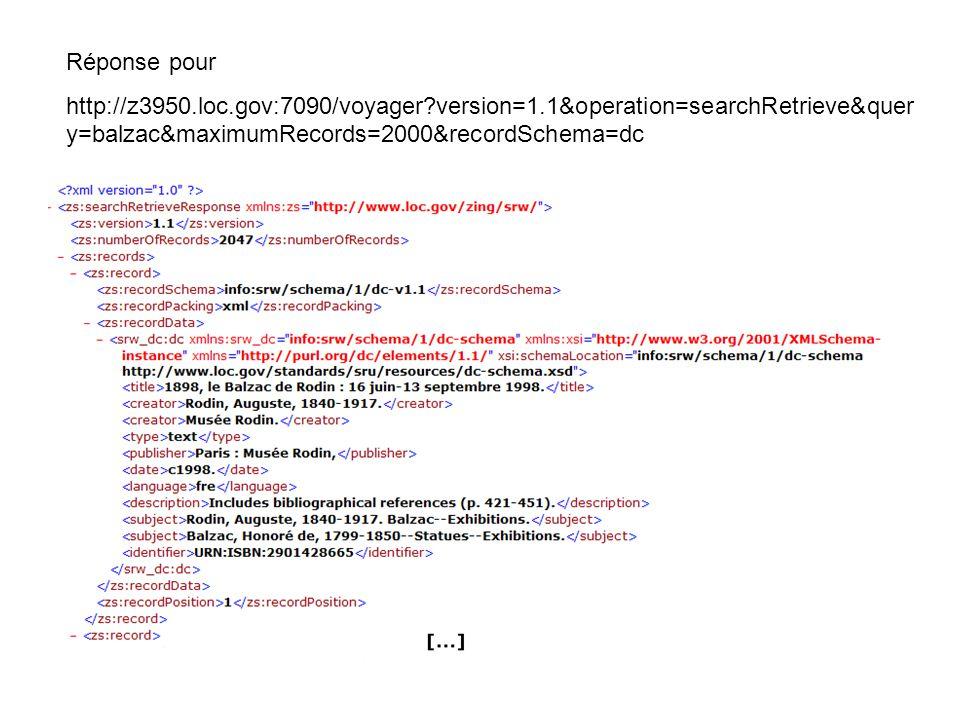 Réponse pour http://z3950.loc.gov:7090/voyager?version=1.1&operation=searchRetrieve&quer y=balzac&maximumRecords=2000&recordSchema=dc