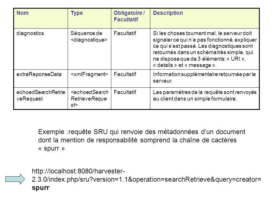 NomTypeObligatoire / Facultatif Description diagnosticsSéquence de FacultatifSi les choses tournent mal, le serveur doit signaler ce qui na pas foncti
