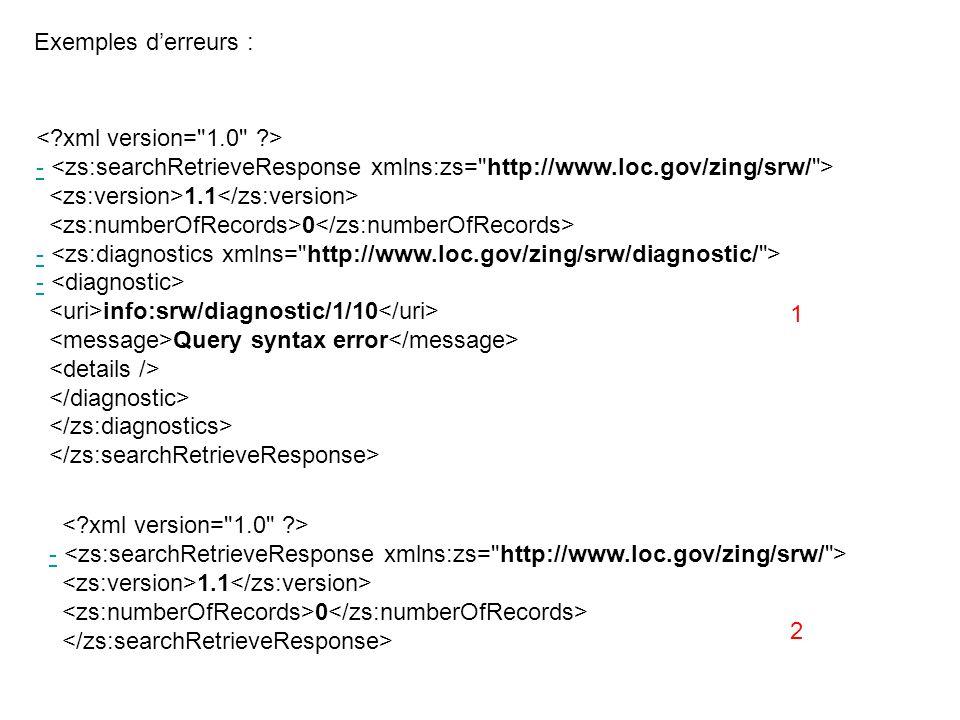- 1.1 0 - info:srw/diagnostic/1/10 Query syntax error Exemples derreurs : - 1.1 0 1 2