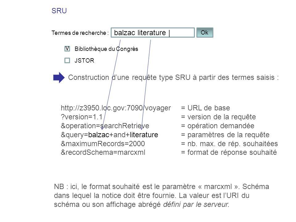 SRU balzac literature | Termes de recherche : Ok Construction dune requête type SRU à partir des termes saisis : v Bibliothèque du Congrès http://z395