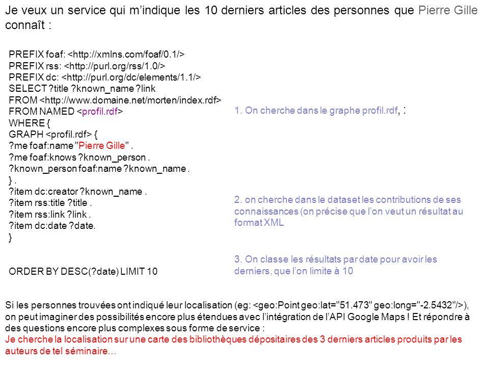 Je veux un service qui mindique les 10 derniers articles des personnes que Pierre Gille connaît : PREFIX foaf: PREFIX rss: PREFIX dc: SELECT ?title ?k