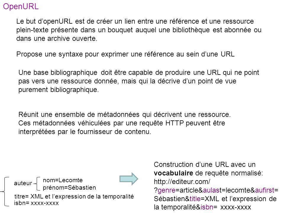 OpenURL Propose une syntaxe pour exprimer une référence au sein dune URL Le but dopenURL est de créer un lien entre une référence et une ressource ple
