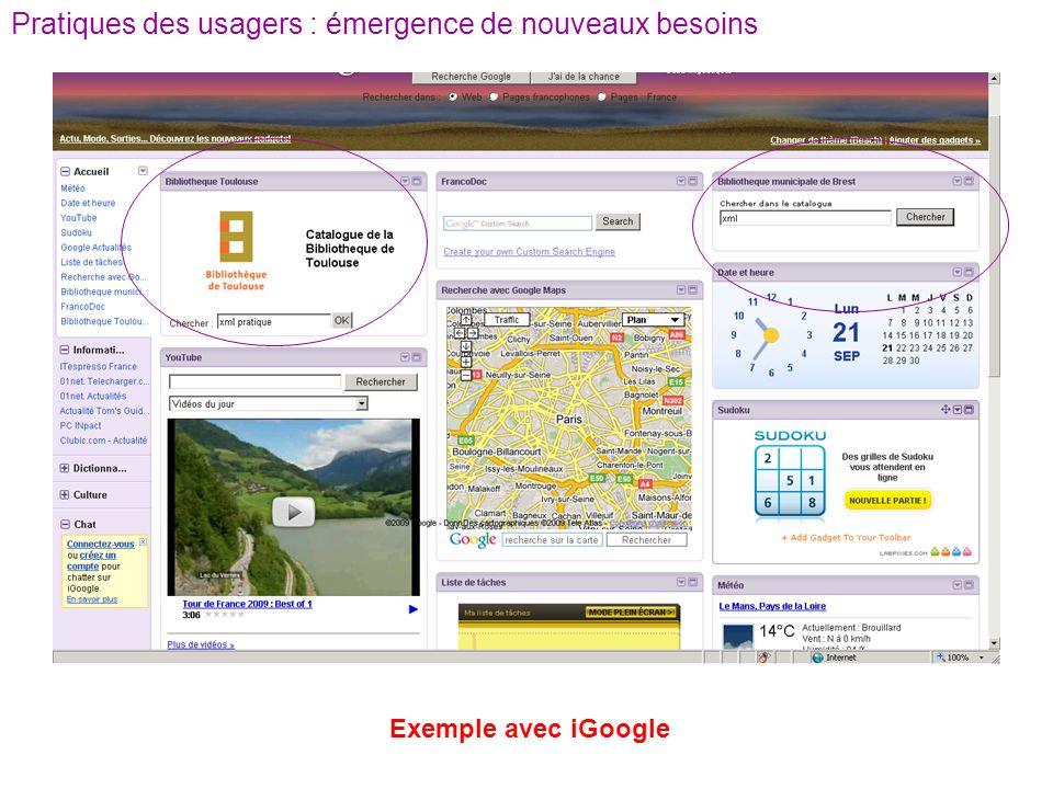 Pratiques des usagers : émergence de nouveaux besoins Exemple avec iGoogle