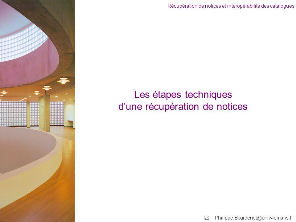 Récupération de notices et interopérabilité des catalogues Philippe.Bourdenet@univ-lemans.fr Les étapes techniques dune récupération de notices