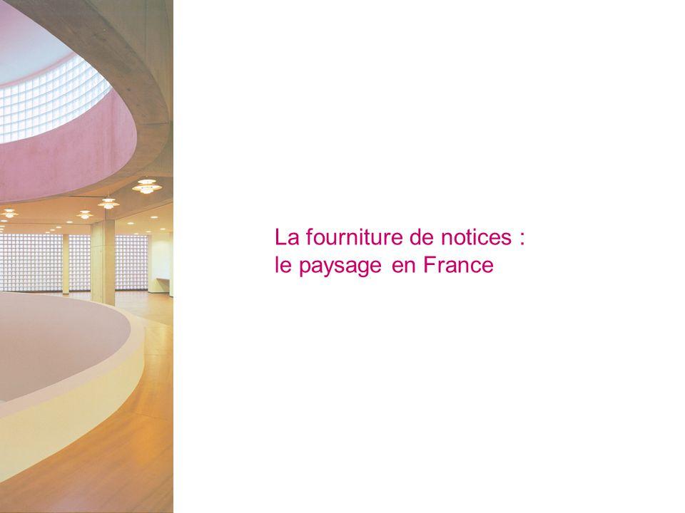La fourniture de notices : le paysage en France