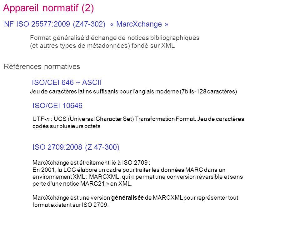 NF ISO 25577:2009 (Z47-302) « MarcXchange » Références normatives ISO 2709:2008 (Z 47-300) ISO/CEI 646 ~ ASCII ISO/CEI 10646 Jeu de caractères latins