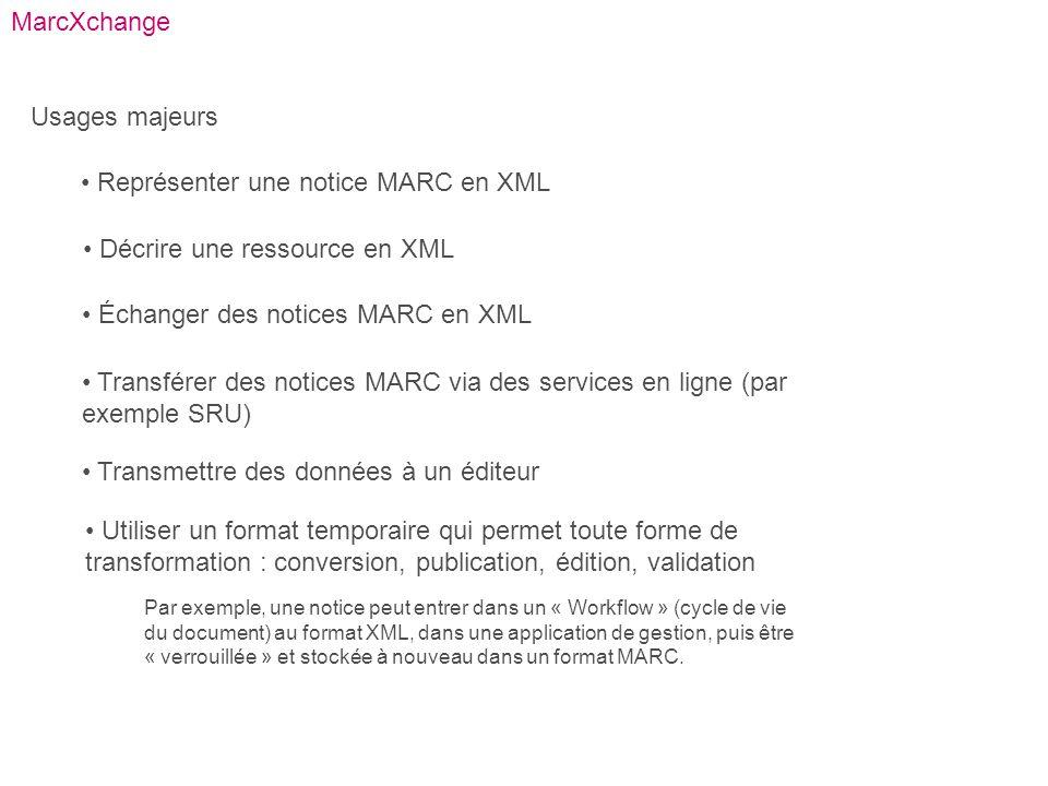 MarcXchange Usages majeurs Représenter une notice MARC en XML Décrire une ressource en XML Échanger des notices MARC en XML Transférer des notices MAR