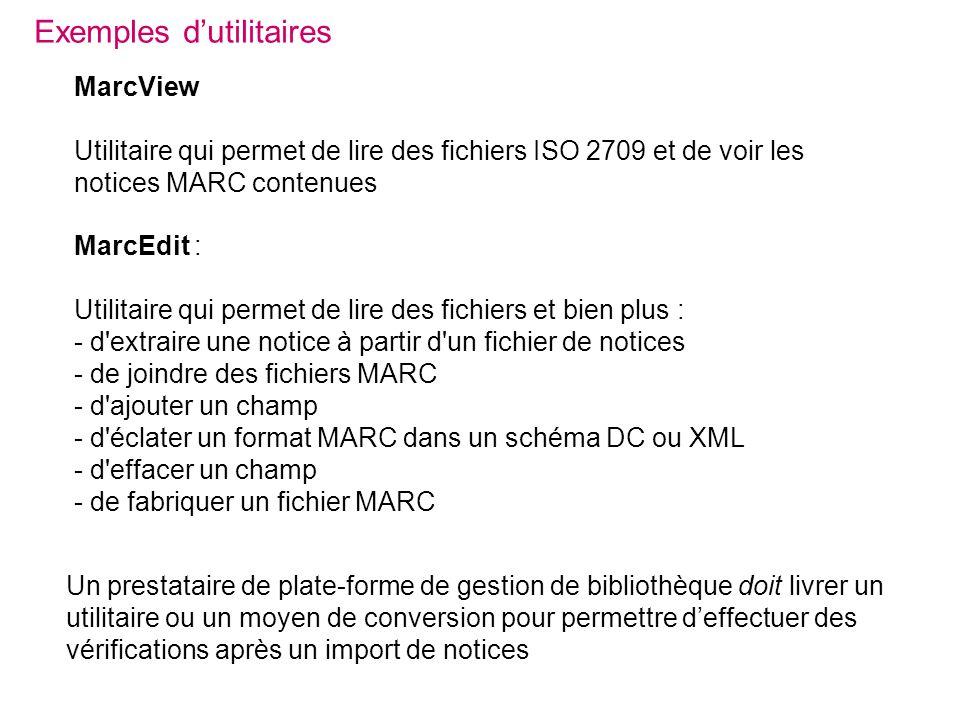 MarcEdit : Utilitaire qui permet de lire des fichiers et bien plus : - d'extraire une notice à partir d'un fichier de notices - de joindre des fichier