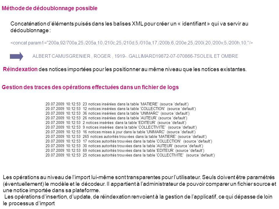 Méthode de dédoublonnage possible Concaténation déléments puisés dans les balises XML pour créer un « identifiant » qui va servir au dédoublonnage : A