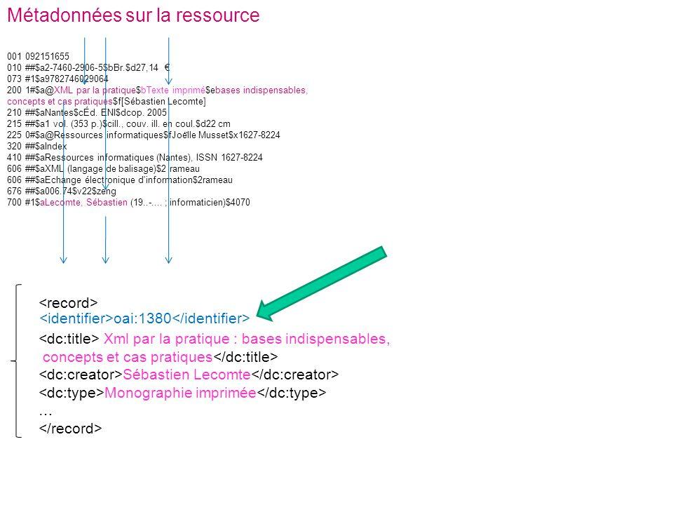 001 092151655 010 ##$a2-7460-2906-5$bBr.$d27,14 073 #1$a9782746029064 200 1#$a@XML par la pratique$bTexte imprimé$ebases indispensables, concepts et c