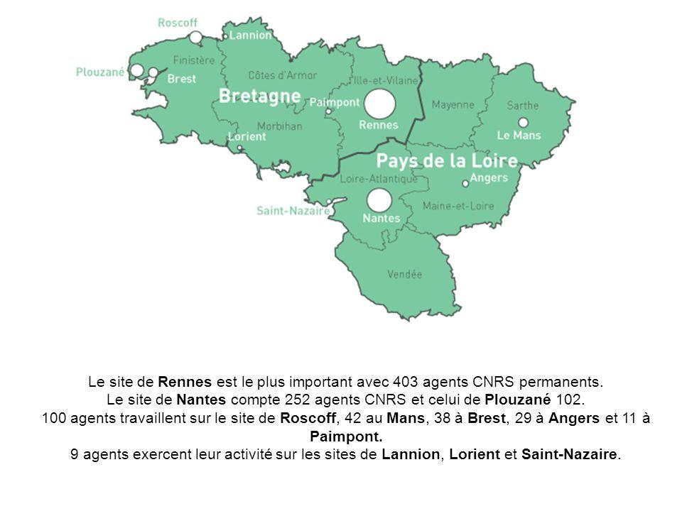 Le site de Rennes est le plus important avec 403 agents CNRS permanents. Le site de Nantes compte 252 agents CNRS et celui de Plouzané 102. 100 agents