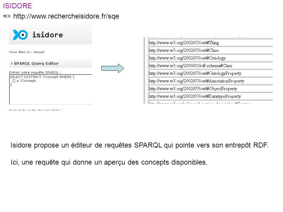 ISIDORE => http://www.rechercheisidore.fr/sqe Isidore propose un éditeur de requêtes SPARQL qui pointe vers son entrepôt RDF.
