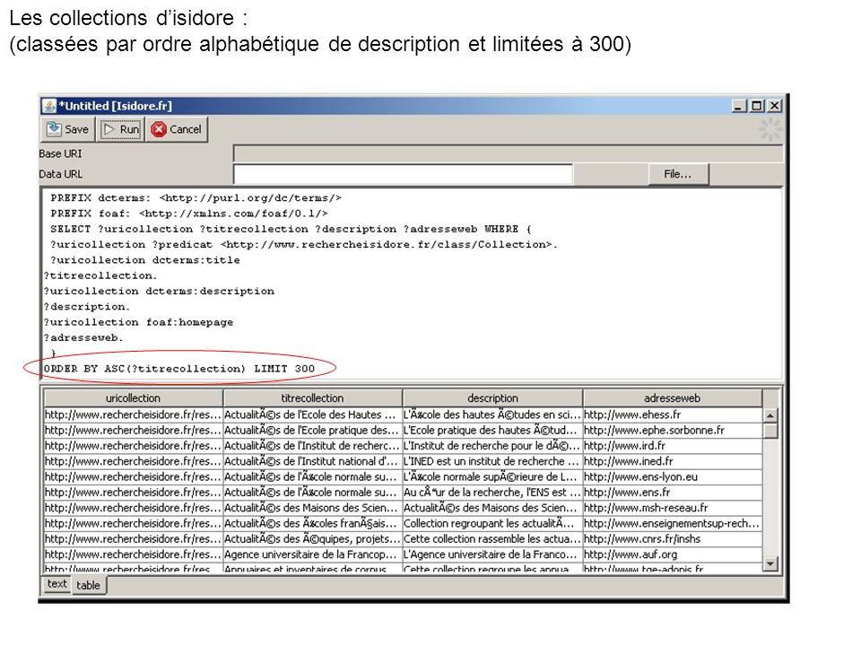 Les collections disidore : (classées par ordre alphabétique de description et limitées à 300)