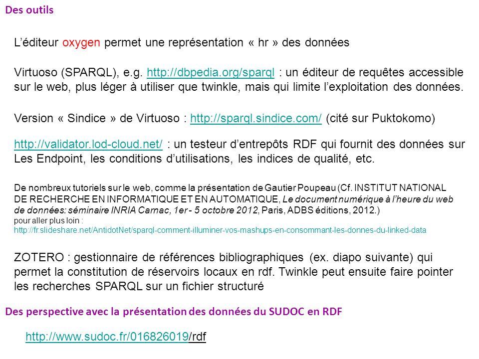 Des outils Léditeur oxygen permet une représentation « hr » des données Virtuoso (SPARQL), e.g.
