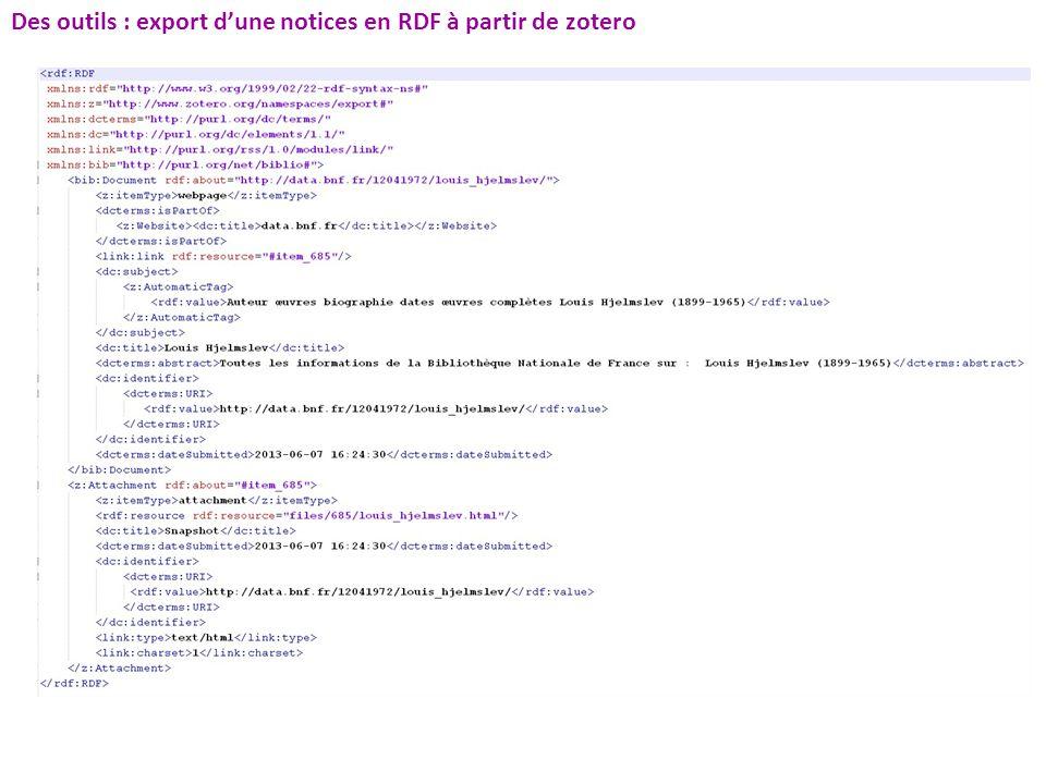 Des outils : export dune notices en RDF à partir de zotero