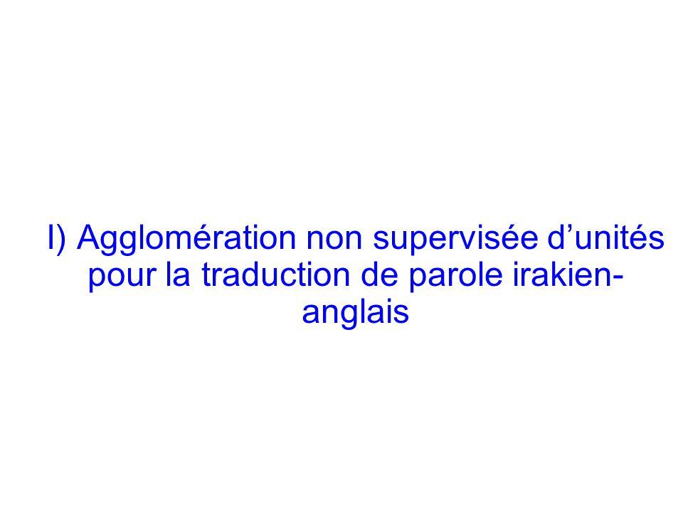 Laurent Besacier 3 I) Agglomération non supervisée dunités pour la traduction de parole irakien- anglais