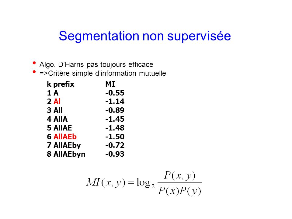 Laurent Besacier 8 Segmentation non supervisée Algo. DHarris pas toujours efficace =>Critère simple dinformation mutuelle k prefix MI 1 A -0.55 2 Al -
