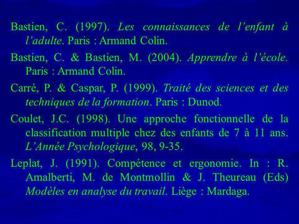 Bastien, C. (1997). Les connaissances de lenfant à ladulte. Paris : Armand Colin. Bastien, C. & Bastien, M. (2004). Apprendre à lécole. Paris : Armand