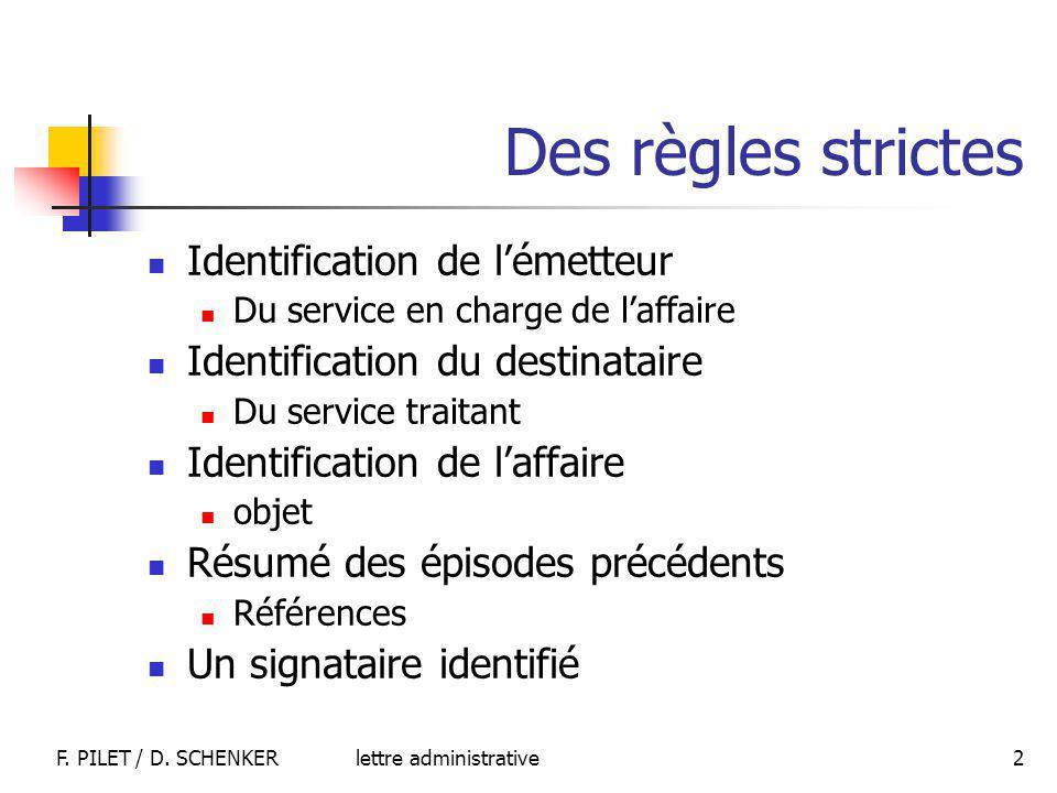 lettre administrativeF. PILET / D. SCHENKER 2 Des règles strictes Identification de lémetteur Du service en charge de laffaire Identification du desti