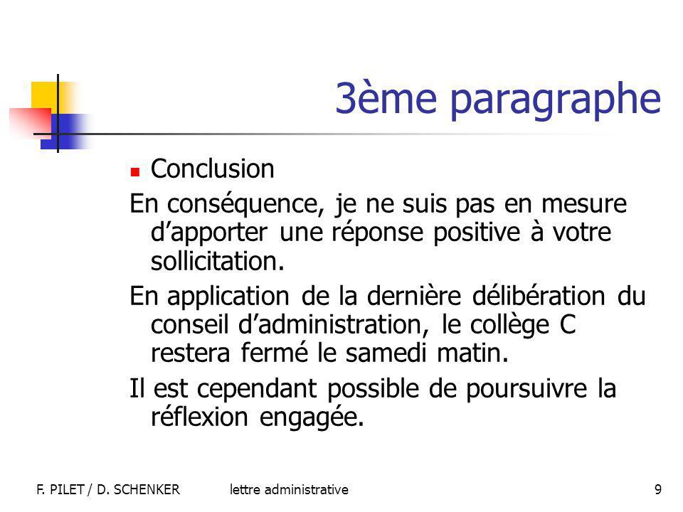 lettre administrativeF.PILET / D.