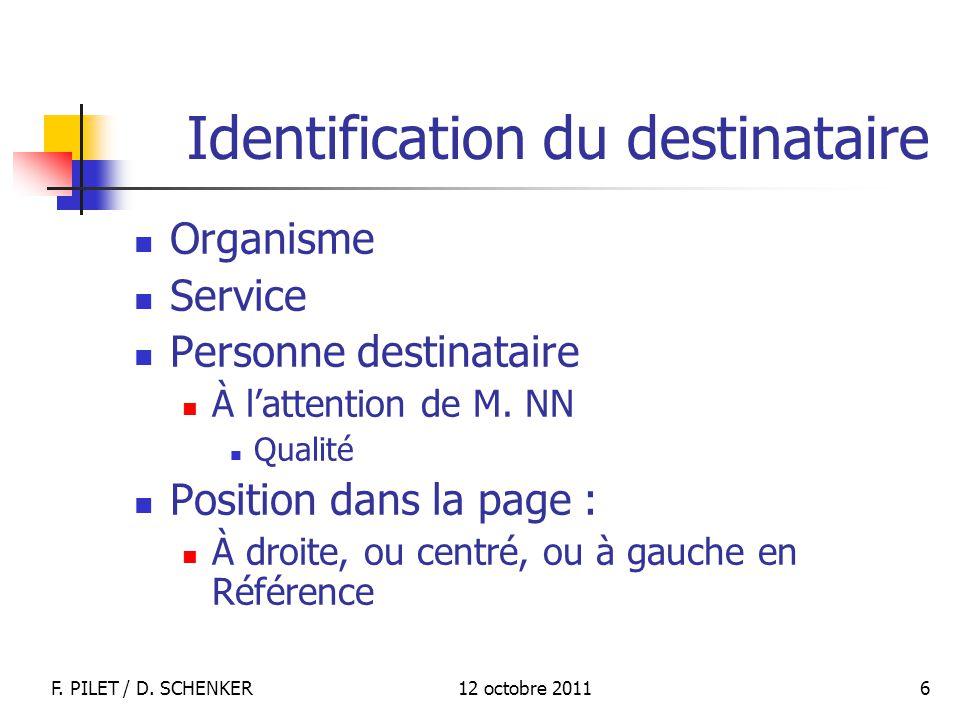 12 octobre 2011F. PILET / D. SCHENKER 6 Identification du destinataire Organisme Service Personne destinataire À lattention de M. NN Qualité Position
