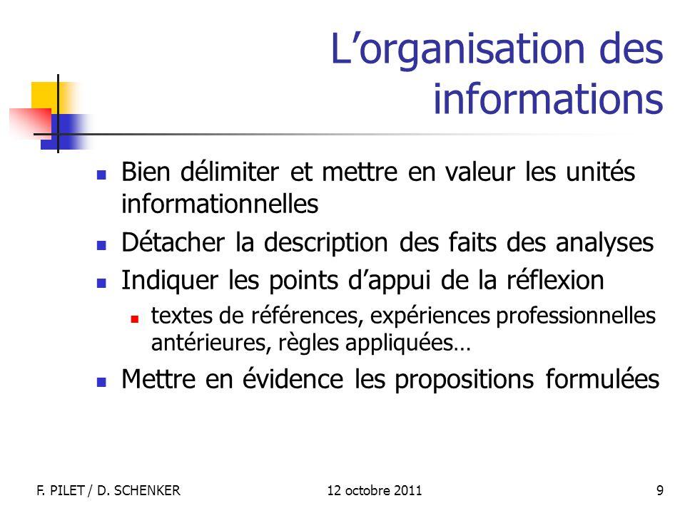 12 octobre 2011F. PILET / D. SCHENKER 9 Lorganisation des informations Bien délimiter et mettre en valeur les unités informationnelles Détacher la des