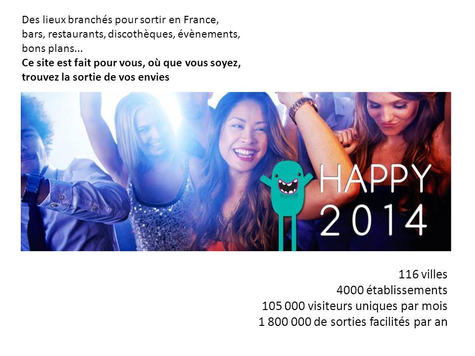 Des lieux branchés pour sortir en France, bars, restaurants, discothèques, évènements, bons plans... Ce site est fait pour vous, où que vous soyez, tr