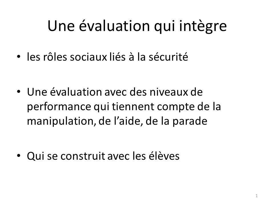 Une évaluation qui intègre les rôles sociaux liés à la sécurité Une évaluation avec des niveaux de performance qui tiennent compte de la manipulation,