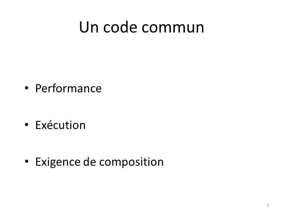 Un code commun Performance Exécution Exigence de composition 3