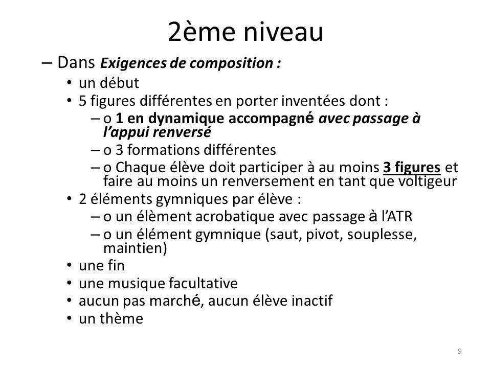 2ème niveau – Dans Exigences de composition : un début 5 figures différentes en porter inventées dont : – o1 en dynamique accompagn é avec passage à l