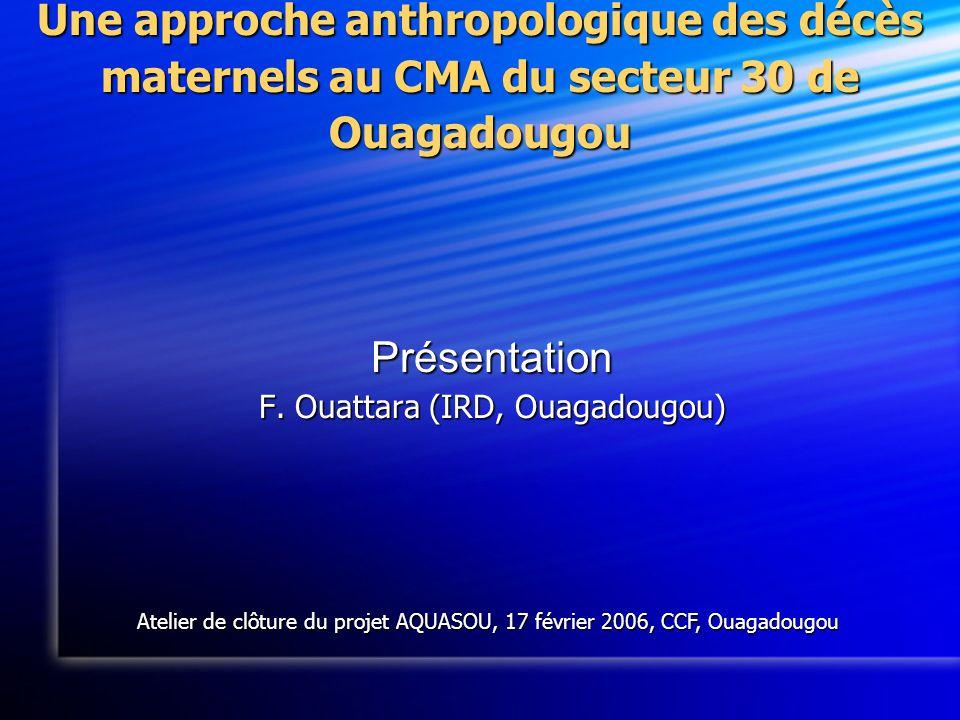 Une approche anthropologique des décès maternels au CMA du secteur 30 de Ouagadougou Présentation F.