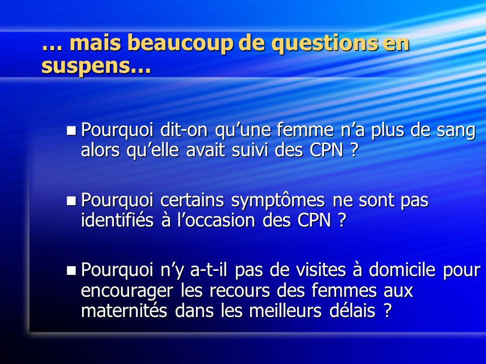 … mais beaucoup de questions en suspens… Pourquoi dit-on quune femme na plus de sang alors quelle avait suivi des CPN .